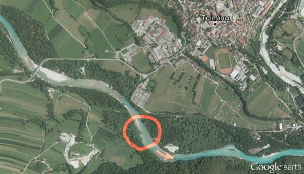L'estatto punto del fiume Soca in cui è stata pescata la marmorata record